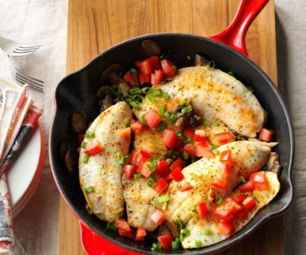 Lemon Pepper Tilapia With Mushroom In A Pan