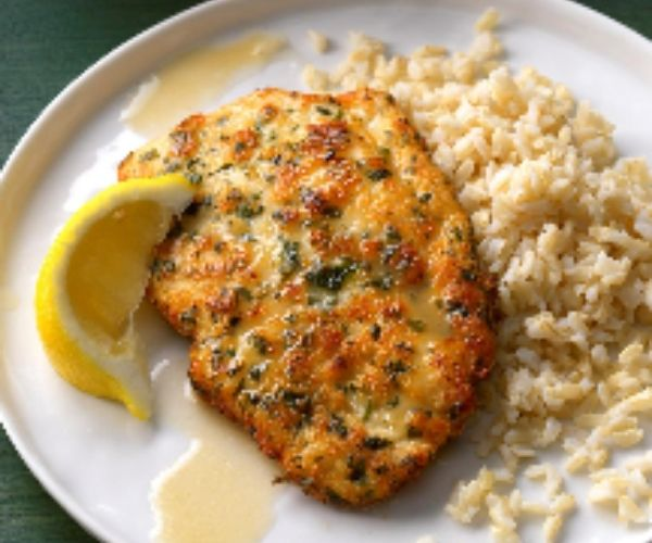 Chicken Piccata With Lemon Sauce and Rice