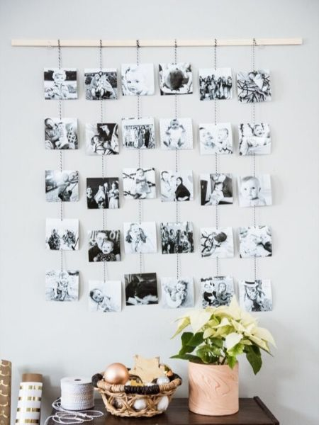 Pictures of family hanging on a wall