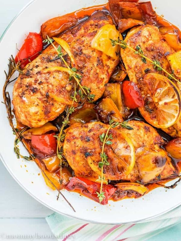 Peri-Peri Chicken Breast on a White Plate
