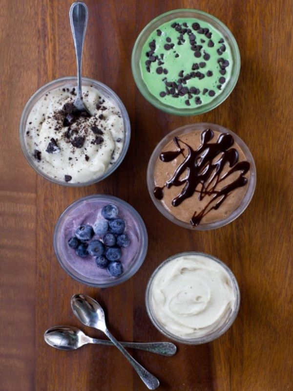 Five Cups of Banana Ice Cream with Different Colors and Flavors