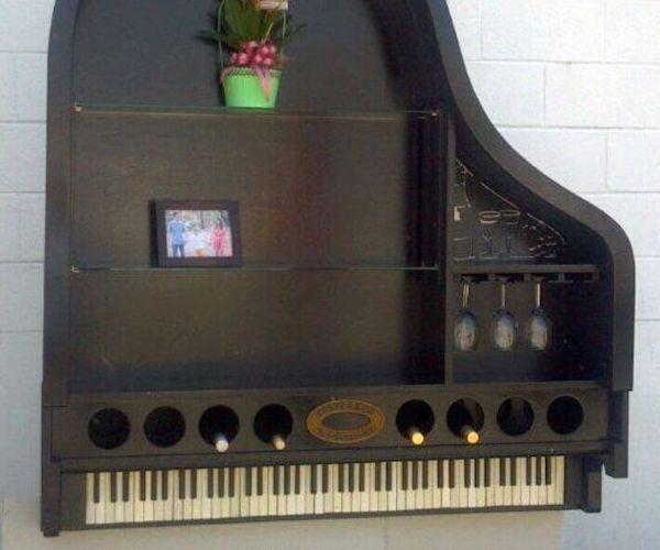 Grand Piano Bookcase and Wine Rack