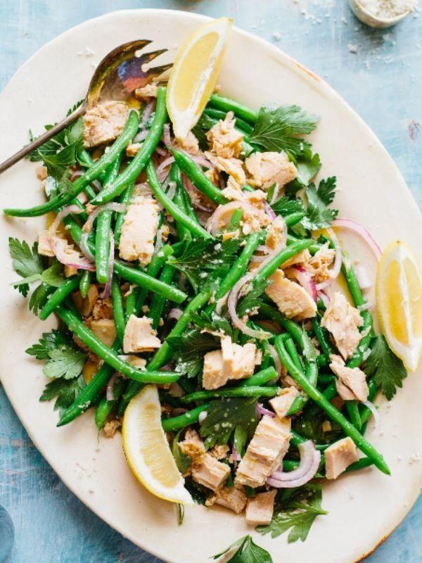 Italian Tuna Green Bean Salad On A White Plate