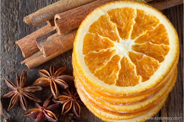 A slices of dried orange and cinnamons