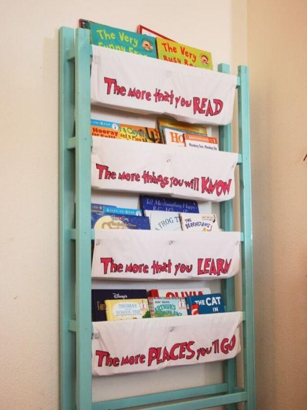 Repurposed Crib Into Book Storage