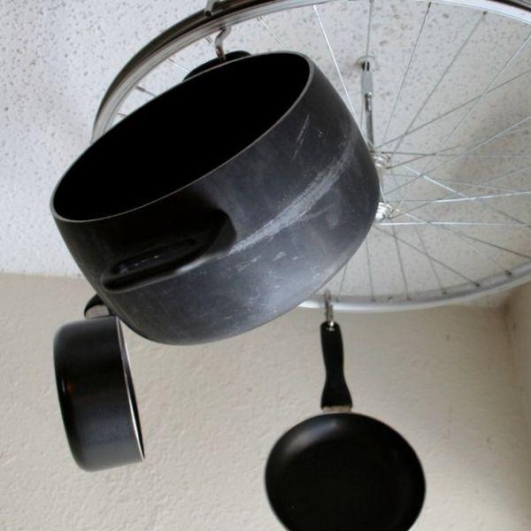 DIY Bicycle Wheel Pot and Pan Rack