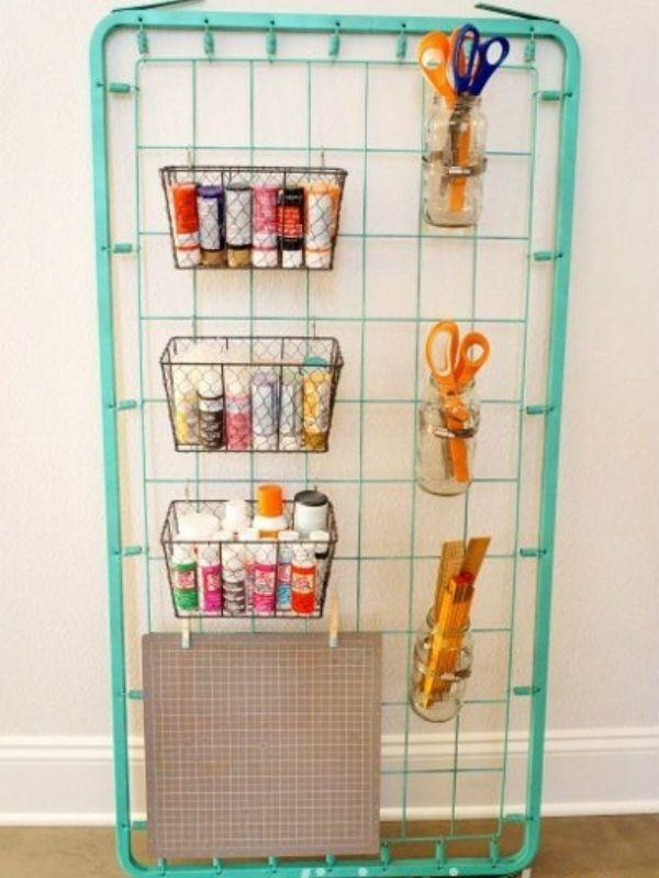 Repurposed Bed Spring Craft Storage