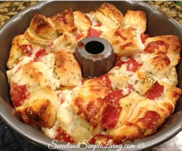Pull-apart pizza bread on a bundt pan.