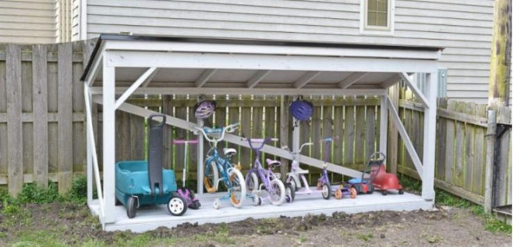 Backyard parking for kid's bikes and other rideable toys