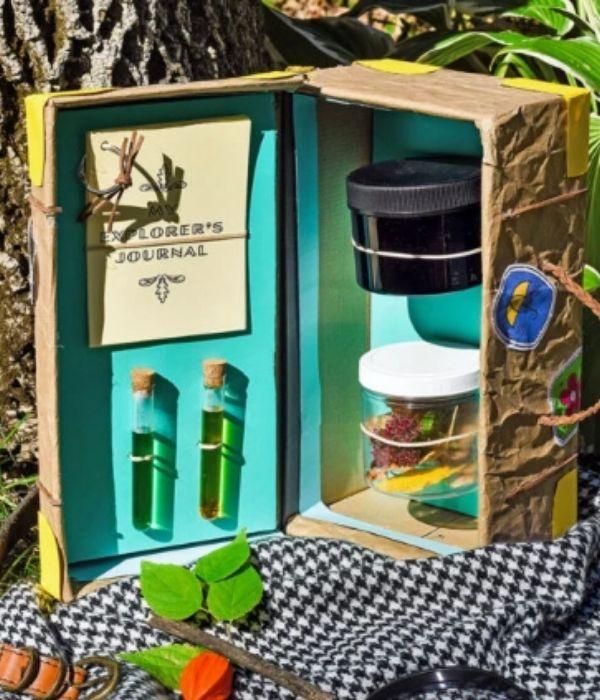 Shoebox Nature Explorer Kit With A Black And White Napkin