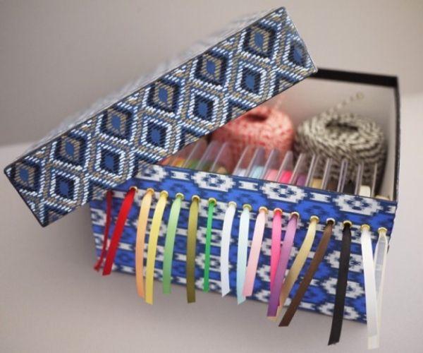 Ribbon Storage Box Made From Shoebox