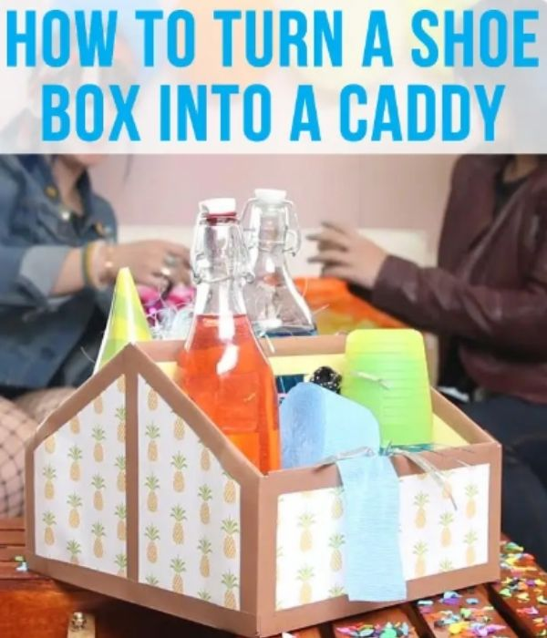 Caddy Shoe Box wrapped with brown and pineapple wrapping paper
