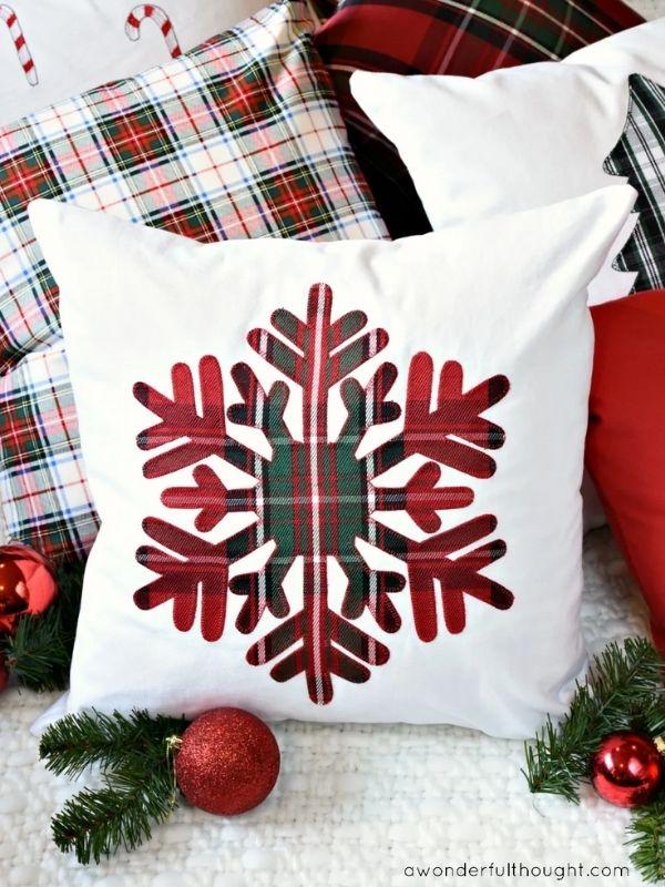 DIY Plaid Christmas Pillows