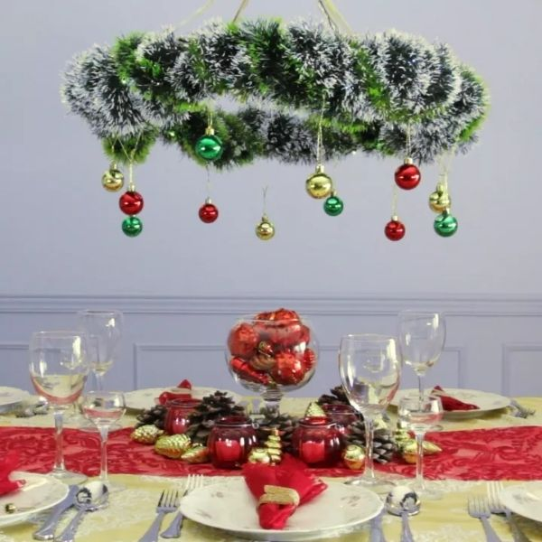 Hula Hoop Christmas Chandelier