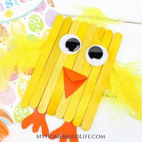 Popsicle Stick Spring Chick Crafts