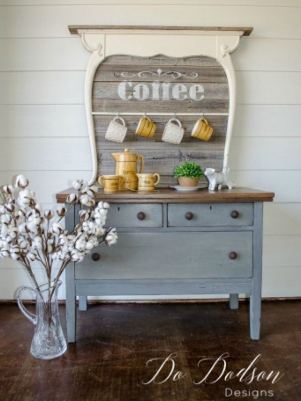DIY Antique Coffee Bar Table