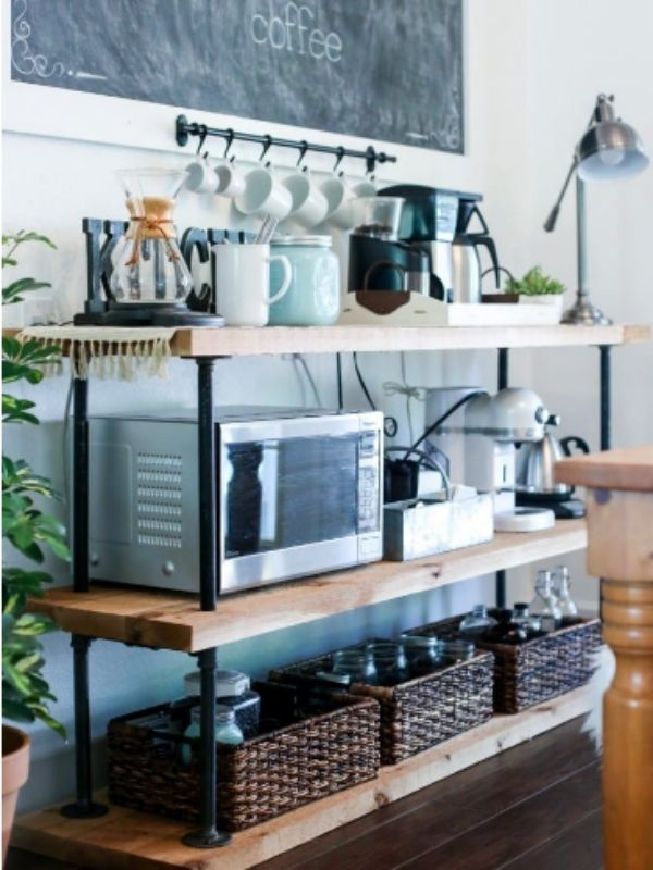 DIY Black Pipe Coffee Bar Table