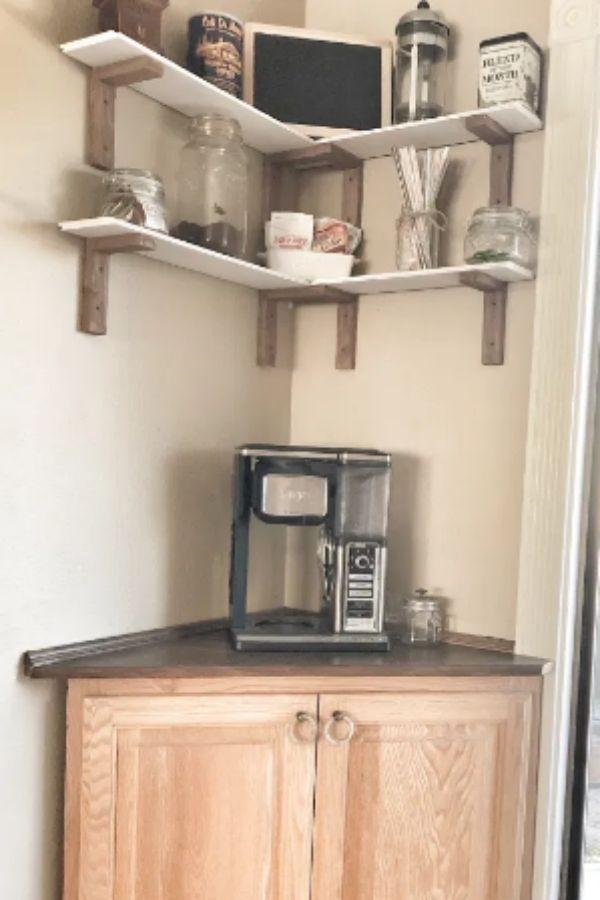 DIY Corner Coffee Bar Table