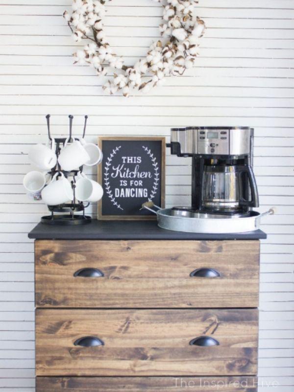 DIY Ikea Tarva Coffee Bar Table