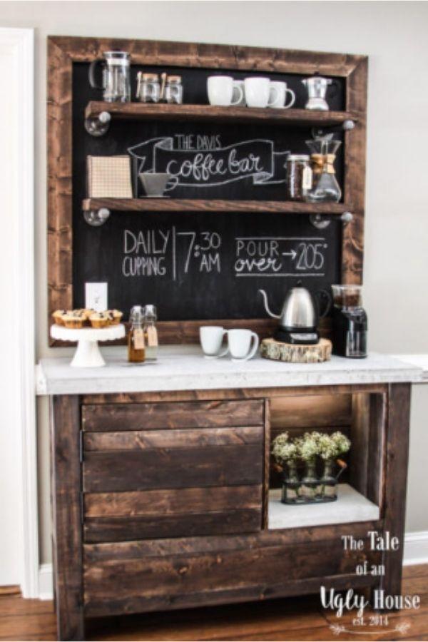 DIY Rustic Coffee Bar Table
