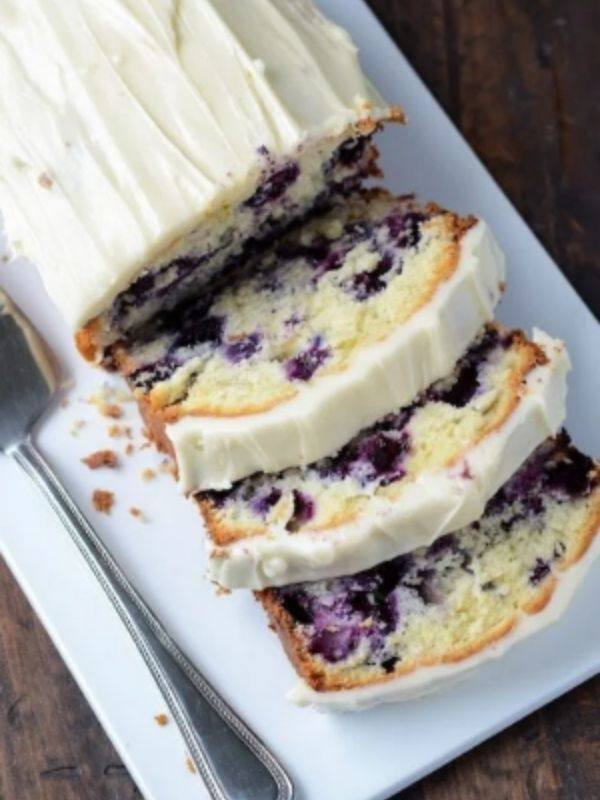 Blueberry Lime Pound Cake with Cream Cheese Frosting