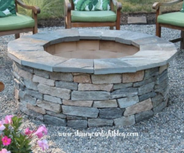 DIY Fire Pit and Pea Stone Patio