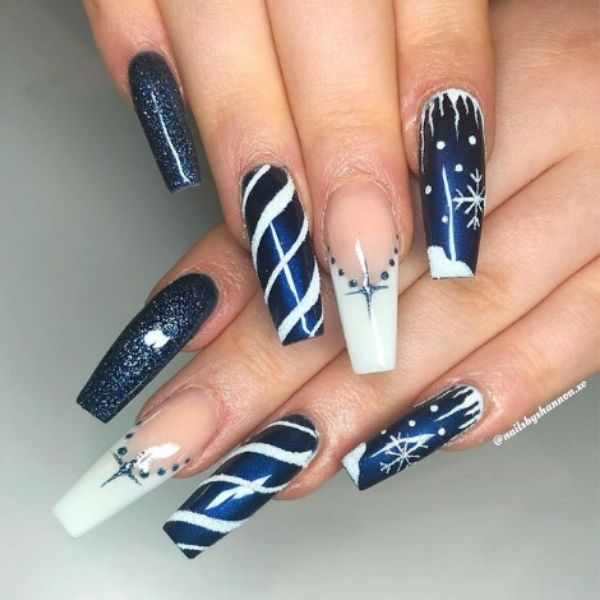 Blue Christmas Acrylic Nails