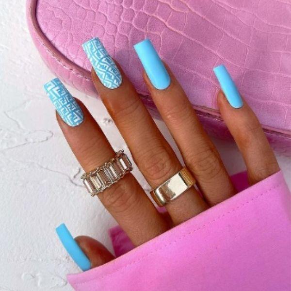 Blue Fendi Acrylic Nails