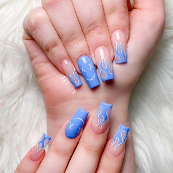 Blue Flames Acrylic Nails