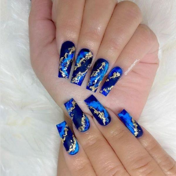 Blue Gold Flakes Acrylic Nails