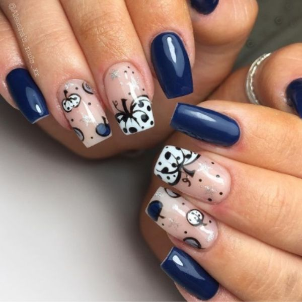 Blue Halloween Acrylic Nails