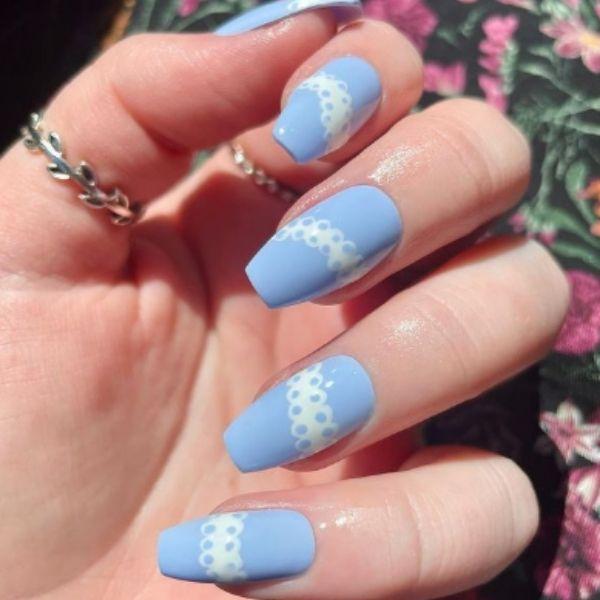 Blue Lace Acrylic Nails