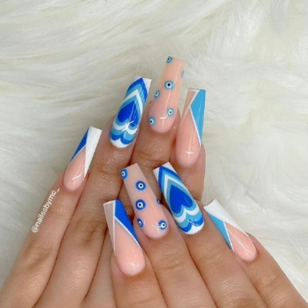 Blue and Light Pink Acrylic Nails