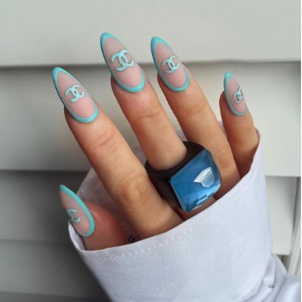Chanel Blue Acrylic Nails