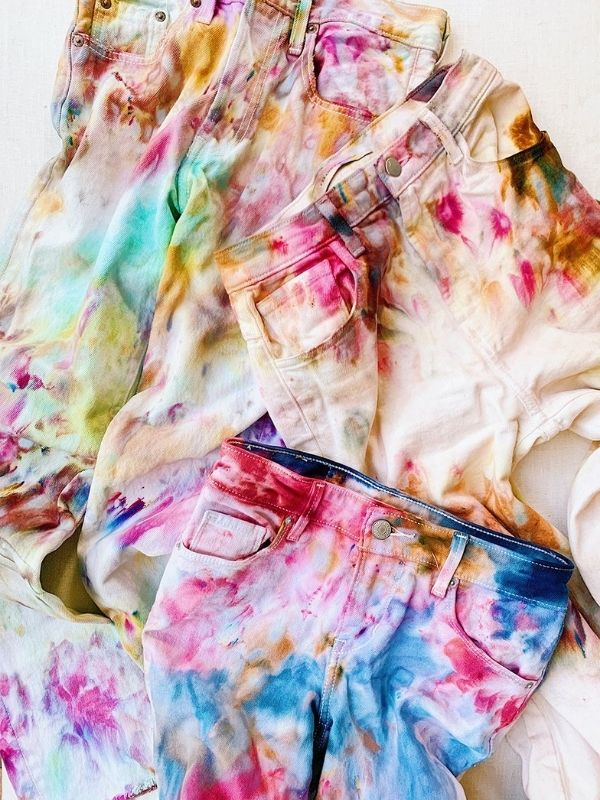 DIY Jeans Ice Dyeing