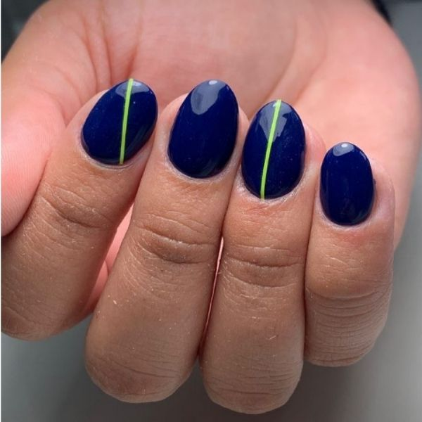 Dark Blue with Neon Strips Acrylic Nails