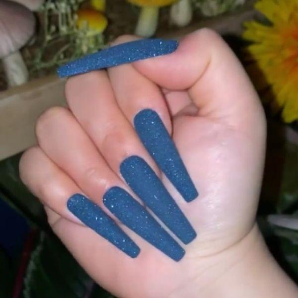 Glitter Blue Acrylic Nails