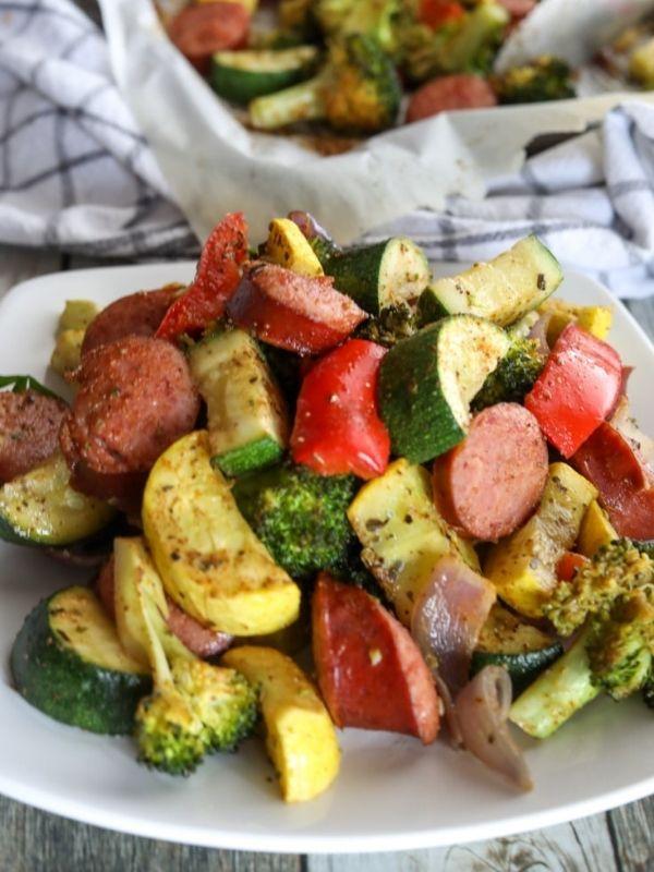 Keto Sheet Pan Smoked Sausage Veggies