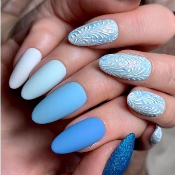 Matte Blue Gradient Acrylic Nails