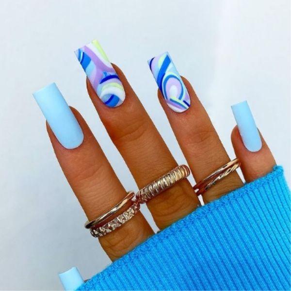 Modern Abstract Blue Acrylic Nails