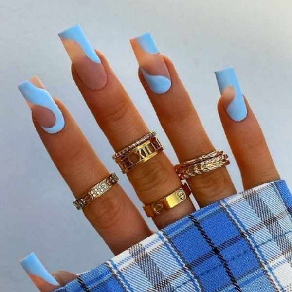 Nude and Blue Swirl Matte Acrylic Nails