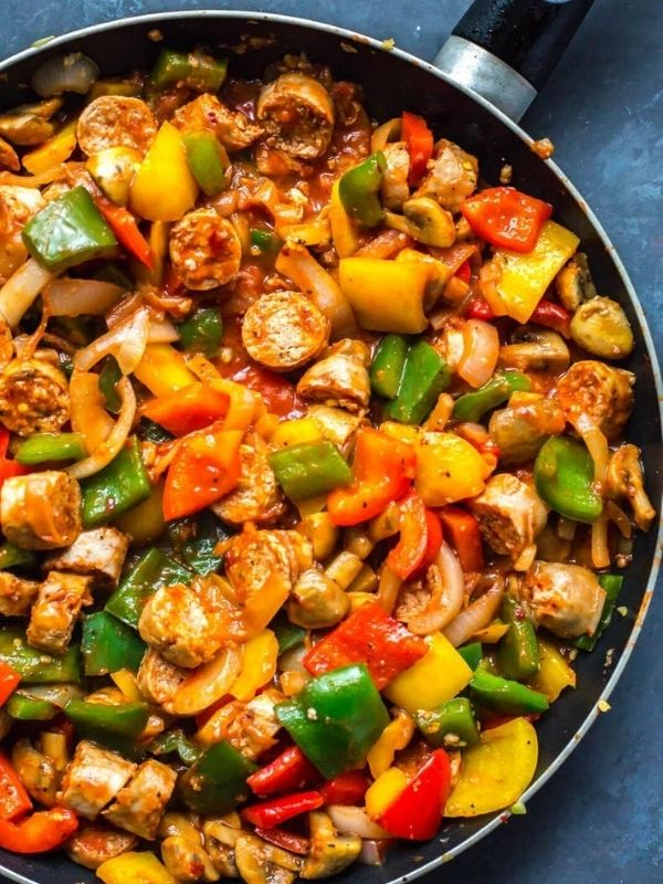 One Pan Sausage Peppers and Onions