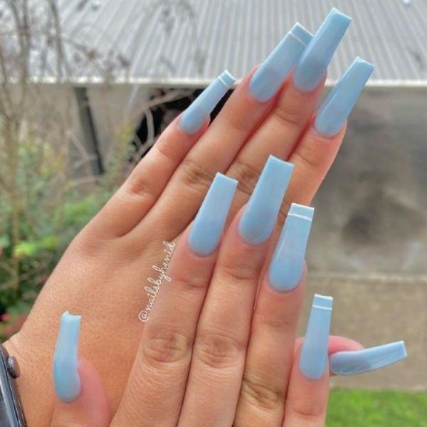 Pastel Blue Acrylic Nails