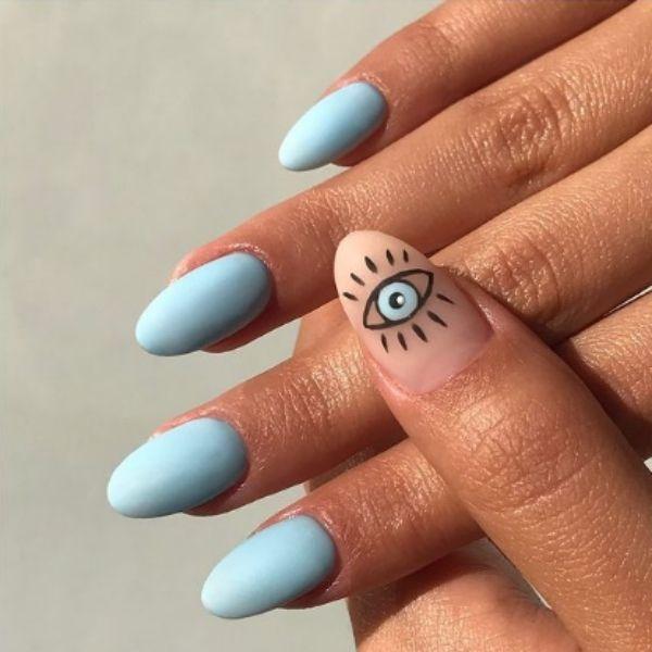 Simple Blue Acrylic Nails