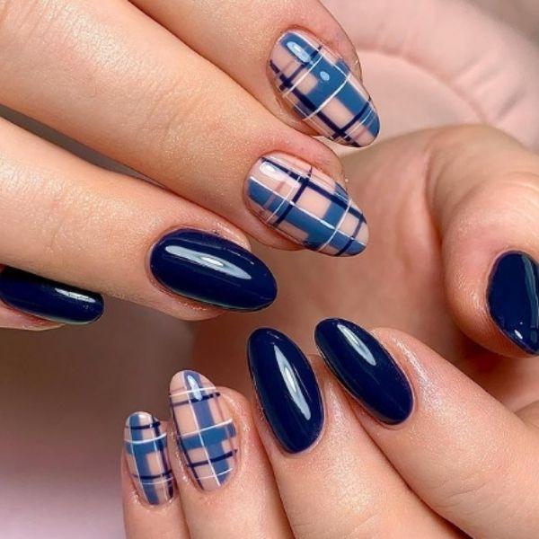 Tartan Blue Acrylic Nails