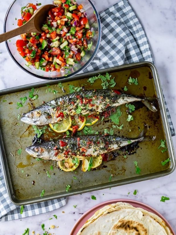 Baked Mackerel with Salad and Flatbreads