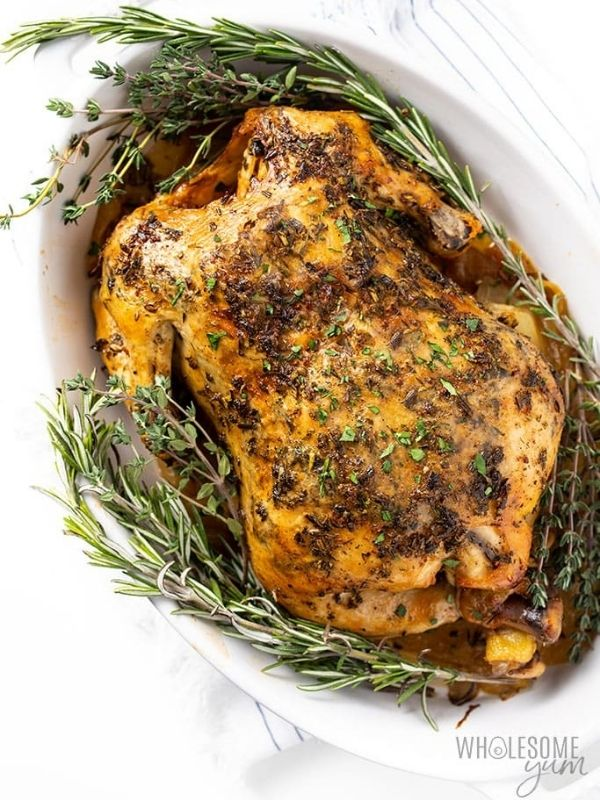 Crock Pot Whole Chicken with Garlic Herb Butter