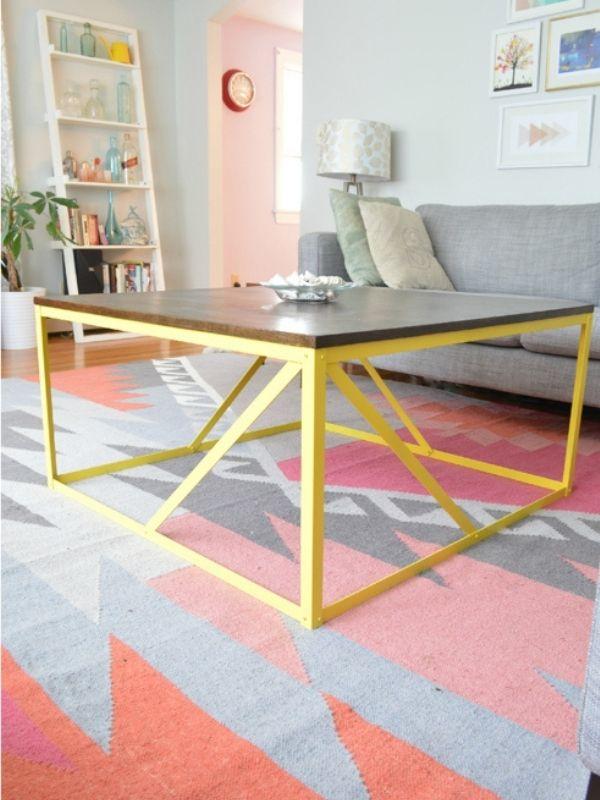 DIY Modern Industrial Metal Coffee Table