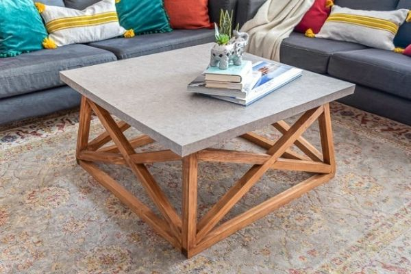 DIY Square Coffee Table with Angled Legs