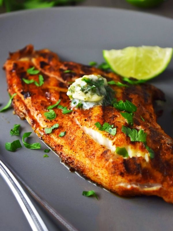Grilled Blackened Catfish with Cilantro Lime Butter